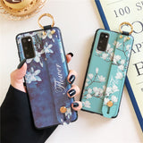 Relief Magnolia Flower Wrist Strap Stand Holder Soft Phone Case Back Cover for Samsung Galaxy S20 Ultra/S20 Plus/S20/S10E/S10 Plus/S10/S9 Plus/S9/S8 Plus/S8/Note 20 Ultra/Note 20/Note 10 Plus/Note 10