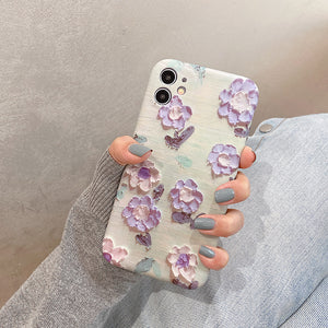 Oil Painting Flower Soft Phone Case Back Cover for iPhone 12 Pro Max/12 Pro/12/12 Mini/SE/11 Pro Max/11 Pro/11/XS Max/XR/XS/X/8 Plus/8/7 Plus/7