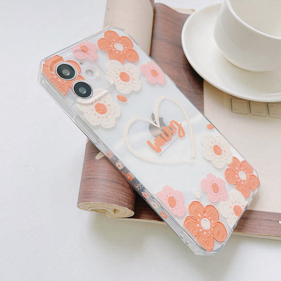 Side Pattern Oil Painting Flowers Clear Soft iPhone Case