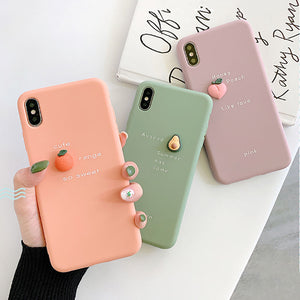 Ladycases - Phone Case Expert - 3D Fruit Avocado Peach Orange Pattern Soft Phone Case Back Cover for iPhone 11/11 Pro/11 Pro Max/XS Max/XR/XS/X/8 Plus/8/7 Plus/7
