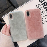 Ladycases - Phone Case Expert - Simple Solid Color Winter Warm Short Plush Soft Phone Case Back Cover for iPhone SE/11 Pro Max/11 Pro/11/XS Max/XR/XS/X/8 Plus/8/7 Plus/7