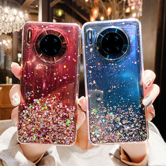 Glitter Sequins Transparent Soft Phone Case Back Cover for Huawei Mate 40 Pro/Mate 40/Mate 30 Pro/Mate 30/P40 Pro/P40/P30 Pro/P30
