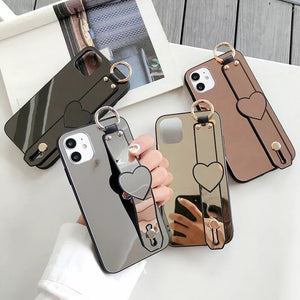 Makeup Mirror Wrist Strap Hard Phone Case Back Cover for iPhone 12 Pro Max/12 Pro/12/12 Mini/SE/11 Pro Max/11 Pro/11/XS Max/XR/XS/X/8 Plus/8/7 Plus/7