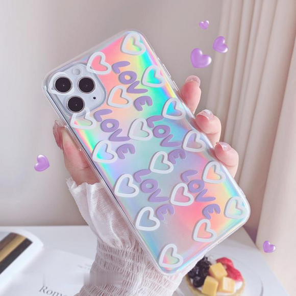 Laser Love Heart Clear Soft Phone Case Back Cover for iPhone 12 Pro Max/12 Pro/12/12 Mini/SE/11 Pro Max/11 Pro/11/XS Max/XR/XS/X/8 Plus/8/7 Plus/7
