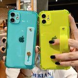 Fluorescent Color Wrist Strap Transparent Soft Phone Case Back Cover for iPhone 12 Pro Max/12 Pro/12/12 Mini/SE/11 Pro Max/11 Pro/11/XS Max/XR/XS/X/8 Plus/8/7 Plus/7