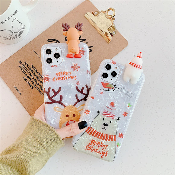 Christmas Dream Shell 3D Deer Bear Soft Phone Case Back Cover for iPhone 12 Pro Max/12 Pro/12/12 Mini/SE/11 Pro Max/11 Pro/11/XS Max/XR/XS/X/8 Plus/8/7 Plus/7