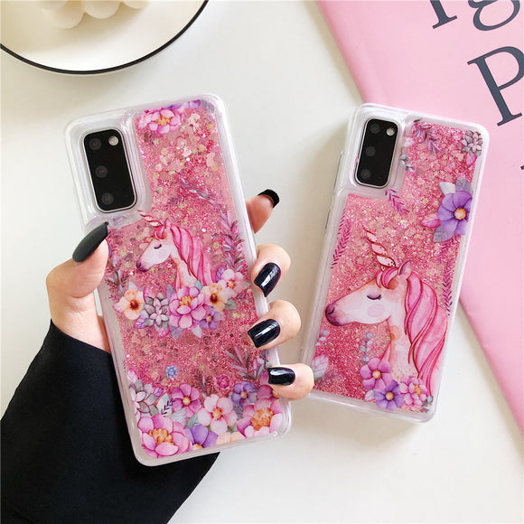 Glitter Sequins Unicorn Soft Phone Case Back Cover for Samsung Galaxy S20 Ultra/S20 Plus/S20/S10E/S10 Plus/S10/S9 Plus/S9/S8 Plus/S8/Note 20 Ultra/Note 20/Note 10 Plus/Note 10