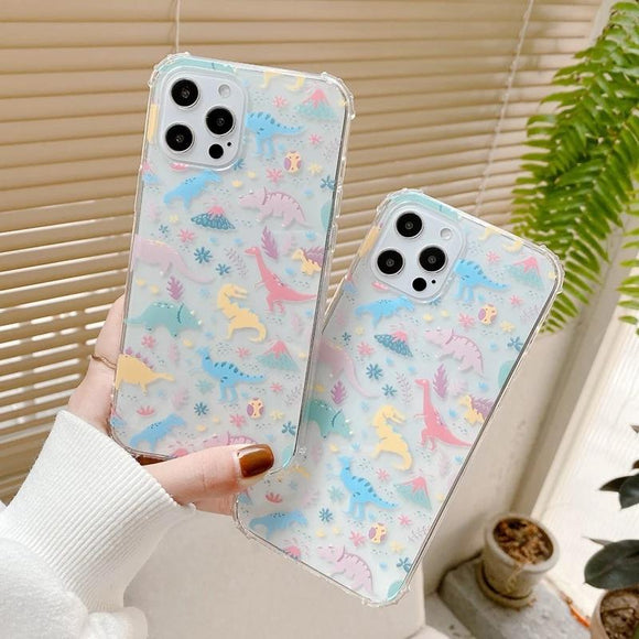 Cute 3D Cartoon Animal Dinosaur Clear Soft Phone Case Back Cover for iPhone 12 Pro Max/12 Pro/12/12 Mini/SE/11 Pro Max/11 Pro/11/XS Max/XR/XS/X/8 Plus/8/7 Plus/7