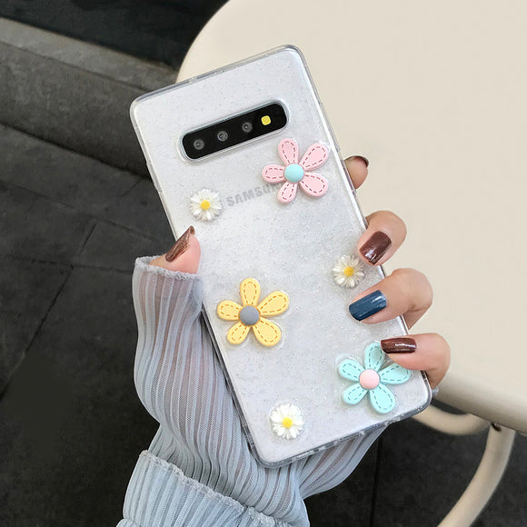 Ladycases - Phone Case Expert - Candy Color Cute 3D Flowers Clear TPU Soft Phone Case Back Cover for Samsung Galaxy S10E/S10 Plus/S10/S9 Plus/S9/S8 Plus/S8/Note 9/Note 8