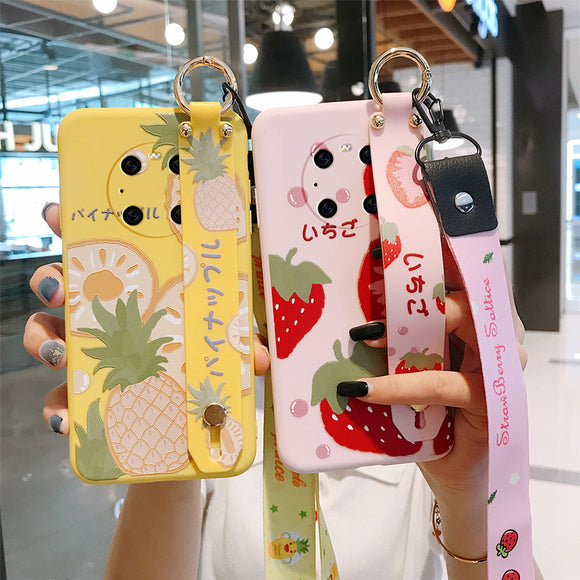 Cute Fruit Wrist Strap Holder Soft Phone Case Back Cover for Huawei Mate 40 Pro/Mate 40/Mate 30 Pro/Mate 30/P40 Pro/P40/P30 Pro/P30