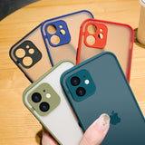 Candy Color Frame Matte Transparent Soft Phone Case Back Cover for iPhone 12 Pro Max/12 Pro/12/12 Mini/SE/11 Pro Max/11 Pro/11/XS Max/XR/XS/X/8 Plus/8/7 Plus/7