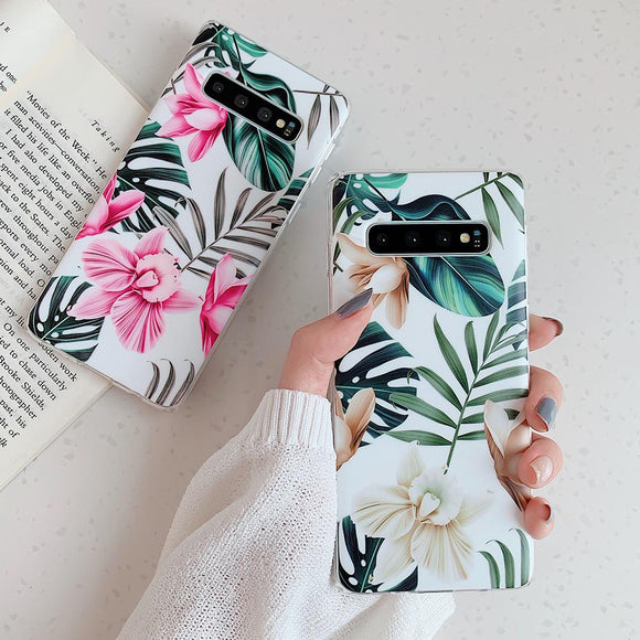 Ladycases - Phone Case Expert - Vintage Flower & Leaf Soft IMD Phone Case Back Cover for Samsung Galaxy S20 Ultra/S20 Plus/S20/S10E/S10 Plus/S10/S9 Plus/S9/S8 Plus/S8/Note10 Pro/Note 10