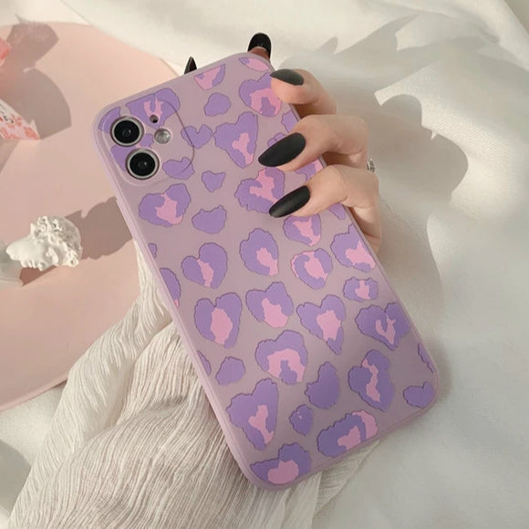 Cute Leopard Heart Soft iPhone Case