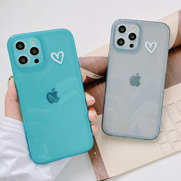 Cute Love Heart Clear Soft iPhone Case