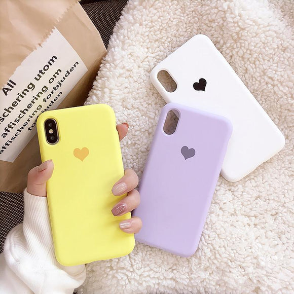 Ladycases - Phone Case Expert - Candy Color Love Heart Soft TPU Phone Case Back Cover for iPhone SE/11 Pro Max/11 Pro/11/XS Max/XR/XS/X/8 Plus/8/7 Plus/7/6s Plus/6s/6 Plus/6
