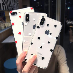 Ladycases - Phone Case Expert - Cute Love Heart Ultra Thin Soft TPU Clear Phone Case Back Cover for iPhone SE/11 Pro Max/11 Pro/11/XS Max/XR/XS/X/8 Plus/8/7 Plus/7/6s Plus/6s/6 Plus/6