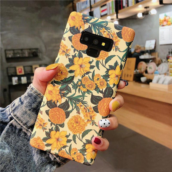 Ladycases - Phone Case Expert - Retro Yellow Flowers Soft IMD Phone Case Back Cover for Samsung Galaxy S20 Ultra/S20 Plus/S20/S10E/S10 Plus/S10/S9 Plus/S9/S8 Plus/S8/Note 10 Pro/Note 10/Note 9/Note 8