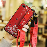 Ladycases - Phone Case Expert - 3D Retro Flower with Wrist Strap Lanyard Phone Case Back Cover for Samsung Galaxy S20 Ultra/S20 Plus/S20/S10E/S10 Plus/S10/S9 Plus/S9/S8 Plus/S8/Note 10 Pro/Note 10/Note 9/Note 8