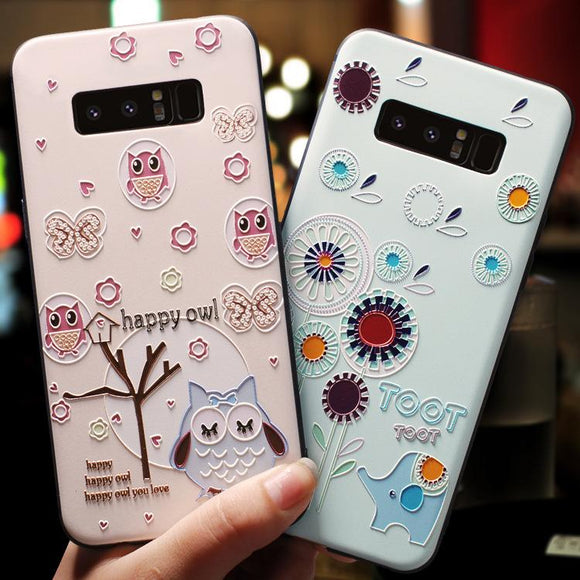 Ladycases - Phone Case Expert - 3D Embossment Cute Animals Phone Case Back Cover for Samsung Galaxy S10E/S10 Plus/S10/S9 Plus/S9/S8 Plus/S8/Note 10 Pro/Note 10/Note 9/Note 8