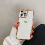 Electroplating Love Silicone Soft Phone Case Back Cover for iPhone 12 Pro Max/12 Pro/12/12 Mini/SE/11 Pro Max/11 Pro/11/XS Max/XR/XS/X/8 Plus/8/7 Plus/7