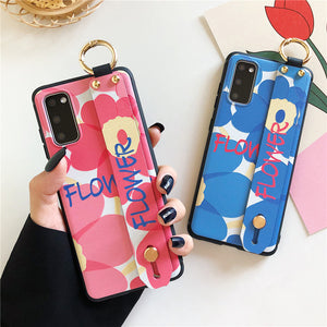 Relief Flower Wrist Strap Stand Holder Soft Phone Case Back Cover for Samsung Galaxy S20 Ultra/S20 Plus/S20/S10E/S10 Plus/S10/S9 Plus/S9/S8 Plus/S8/Note 20 Ultra/Note 20/Note 10 Plus/Note 10