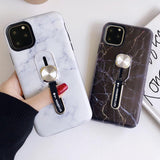 Ladycases - Phone Case Expert - Simple Marble Hide Loop Stand Phone Case Back Cover for iPhone SE/11 Pro Max/11 Pro/11/XS Max/XR/XS/X/8 Plus/8/7 Plus/7