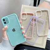 Glitter Star Candy Color Clear Camera Protector Soft Phone Case Back Cover for iPhone 12 Pro Max/12 Pro/12/12 Mini/SE/11 Pro Max/11 Pro/11/XS Max/XR/XS/X/8 Plus/8/7 Plus/7