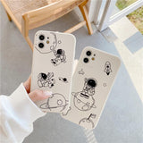 Side Cartoon Couple Astronauts Silicone Soft Phone Case Back Cover for iPhone 12 Pro Max/12 Pro/12/12 Mini/SE/11 Pro Max/11 Pro/11/XS Max/XR/XS/X/8 Plus/8/7 Plus/7