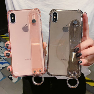 Ladycases - Phone Case Expert - Glitter Powder Air Bag Corner Soft Wrist Strap Transparent Phone Case Back Cover for iPhone SE/11/11 Pro/11 Pro Max/XS Max/XR/XS/X/8 Plus/8/7 Plus/7