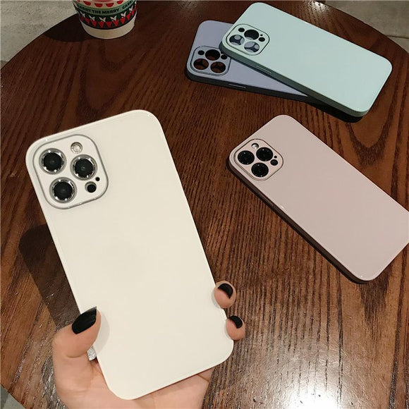Solid Color Glass Side Silicone Soft Phone Case Back Cover for iPhone 12 Pro Max/12 Pro/12/12 Mini/SE/11 Pro Max/11 Pro/11/XS Max/XR/XS/X/8 Plus/8/7 Plus/7