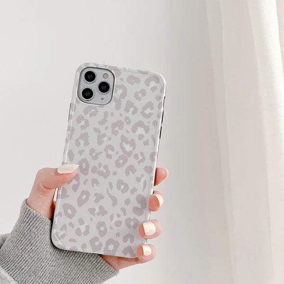 Gray Leopard Print Soft Phone Case Back Cover for iPhone 12 Pro Max/12 Pro/12/12 Mini/SE/11 Pro Max/11 Pro/11/XS Max/XR/XS/X/8 Plus/8/7 Plus/7