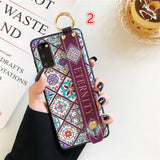 Relief Totem Flower Wrist Strap Stand Holder Soft Phone Case Back Cover for Samsung Galaxy S20 Ultra/S20 Plus/S20/S10E/S10 Plus/S10/S9 Plus/S9/S8 Plus/S8/Note 20 Ultra/Note 20/Note 10 Plus/Note 10
