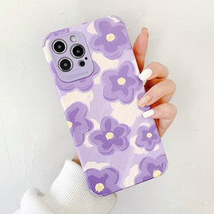 Purple Oil Painting Flower Silicone Soft Phone Case Back Cover for iPhone 12 Pro Max/12 Pro/12/12 Mini/SE/11 Pro Max/11 Pro/11/XS Max/XR/XS/X/8 Plus/8/7 Plus/7