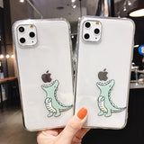 Ladycases - Phone Case Expert - Creative Cartoon Simple Dinosaur Transparent Soft Phone Case Back Cover for iPhone 11/11 Pro/11 Pro Max/XS Max/XR/XS/X/8 Plus/8/7 Plus/7