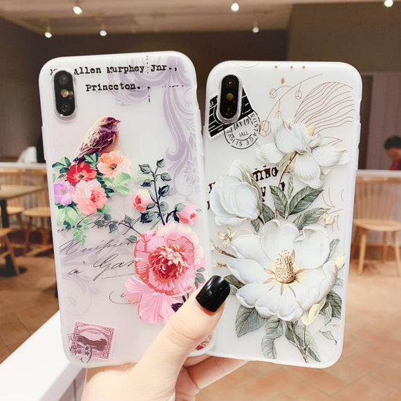 Retro Flower Soft Silicone Phone Case Back Cover for Samsung Galaxy S20 Ultra/S20 Plus/S20/S10E/S10 Plus/S10/S9 Plus/S9/S8 Plus/S8/Note 10 Pro/Note 10/Note 9/Note 8