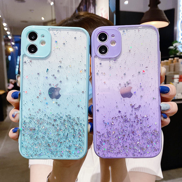 Gradient Glitter Foil Camera Lens Protector Acrylic Phone Case Back Cover for iPhone SE/11 Pro Max/11 Pro/11/XS Max/XR/XS/X/8 Plus/8/7 Plus/7