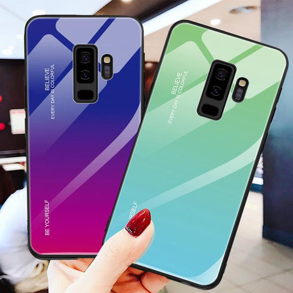 Ladycases - Phone Case Expert - Gradient Tempered Glass Phone Case Back Cover for Samsung Galaxy S20 Ultra/S20 Plus/S20/S10E/S10 Plus/S10/S9 Plus/S9/S8 Plus/S8/Note 10 Pro/Note 10/Note 9/Note 8