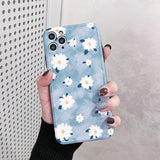 Simple Flower Frame Soft Phone Case Back Cover for iPhone 12 Pro Max/12 Pro/12/12 Mini/SE/11 Pro Max/11 Pro/11/XS Max/XR/XS/X/8 Plus/8/7 Plus/7