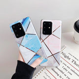Geometric Patchwork Marble Soft Phone Case Back Cover for Samsung Galaxy S20 Ultra/S20 Plus/S20/S10E/S10 Plus/S10/S9 Plus/S9/S8 Plus/S8/Note 10 Plus/Note 10
