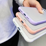 Ladycases - Phone Case Expert - Candy Color Frame Matte Transparent Soft Phone Case Back Cover for iPhone 11/11 Pro/11 Pro Max/XS Max/XR/XS/X/8 Plus/8/7 Plus/7