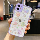 Transparent Glitter Planets Soft Phone Case Back Cover for iPhone 12 Pro Max/12 Pro/12/12 Mini/SE/11 Pro Max/11 Pro/11/XS Max/XR/XS/X/8 Plus/8/7 Plus/7