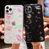 Glitter Space Planet Clear Soft Phone Case Back Cover for iPhone 12 Pro Max/12 Pro/12/12 Mini/11 Pro Max/11 Pro/11/XS Max/XR/XS/X/8 Plus/8/7 Plus/7