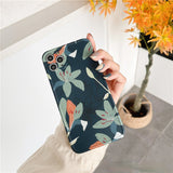 Green Leaf Oil Painting Soft iPhone Case