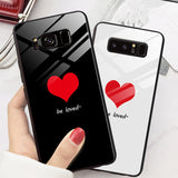 Simple Love Heart Tempered Glass Phone Case Back Cover for Samsung Galaxy S20 Ultra/S20 Plus/S20/S10E/S10 Plus/S10/S9 Plus/S9/S8 Plus/S8/Note 20 Ultra/Note 20/Note 10 Plus/Note 10