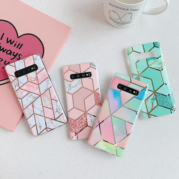 Ladycases - Phone Case Expert - Artistic Geometric Marble Texture Electroplated Phone Case Back Cover for Samsung Galaxy S20 Ultra/S20 Plus/S20/S10E/S10 Plus/S10/S9 Plus/S9/S8 Plus/S8/Note 10 Pro/Note 10/Note 9/Note 8