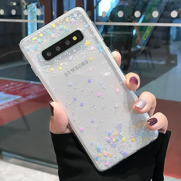 Ladycases - Phone Case Expert - Fashion Colorful Bling Stars Clear Soft Phone Case Back Cover for Samsung Galaxy S20 Ultra/S20 Plus/S20/S10E/S10 Plus/S10/S9 Plus/S9/S8 Plus/S8/Note 10 Pro/Note 10/Note 9/Note 8