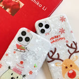 Christmas Dream Shell Deer Bear Soft Phone Case Back Cover for iPhone 12 Pro Max/12 Pro/12/12 Mini/SE/11 Pro Max/11 Pro/11/XS Max/XR/XS/X/8 Plus/8/7 Plus/7