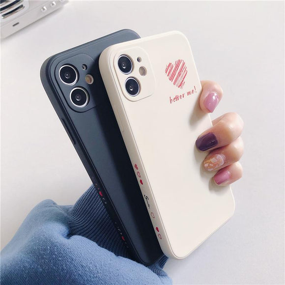 Side Love Heart Silicone Soft Phone Case Back Cover for iPhone 12 Pro Max/12 Pro/12/12 Mini/SE/11 Pro Max/11 Pro/11/XS Max/XR/XS/X/8 Plus/8/7 Plus/7