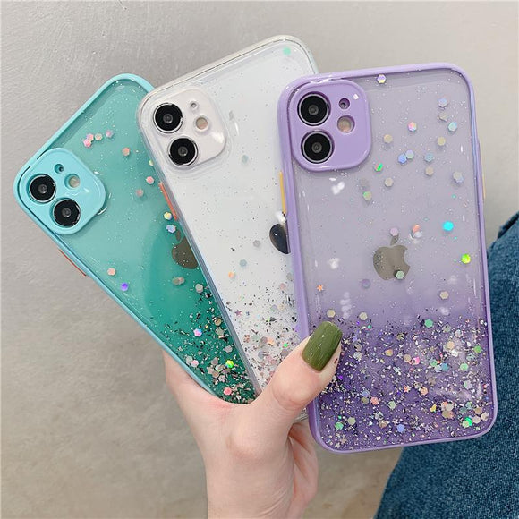 Fashion Sequins Laser Gradient Soft TPU Silicone Phone Case Back Cover for iPhone 12 Pro Max/12 Pro/12/12 Mini/SE/11 Pro Max/11 Pro/11/XS Max/XR/XS/X/8 Plus/8/7 Plus/7