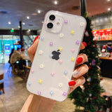 Transparent Heart Flower Soft Phone Case Back Cover for iPhone 12 Pro Max/12 Pro/12/12 Mini/SE/11 Pro Max/11 Pro/11/XS Max/XR/XS/X/8 Plus/8/7 Plus/7
